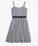 Brooks Brothers Cotton Butterfly Print Sleeveless Dress
