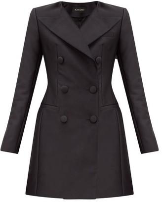 Rasario Double-breasted Satin Blazer Mini Dress - Black