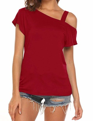 Fashionable Cyanstyle Tunics for Women to Wear with Leggings Ladies Short Sleeve Off Shoulder Shirts Round Neck Soft Cotton Material Elastic Fabric Roomy Attire Tops Burgundy Red Wine M