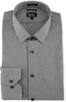Neiman Marcus Extra-Trim Regular-Finish Striped Dress Shirt, Black
