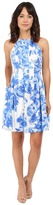 Vince Camuto Printed Scuba Halter Fit & Flare Dress