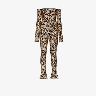 Halpern leopard print Bardot jumpsuit