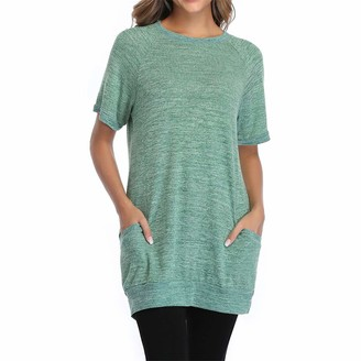 PEOD Summer Plus Size Tunic Tops for Women Ladies Casual Oversized Short Sleeve Round Neck Blouses T-Shirt with Pockets Womens Elegant Basic Cotton Linen Patchwork Slim Fit Tees Shirts Crop Tops Grey
