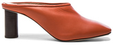 Helmut Lang Square Toe Leather Mules in Orange.