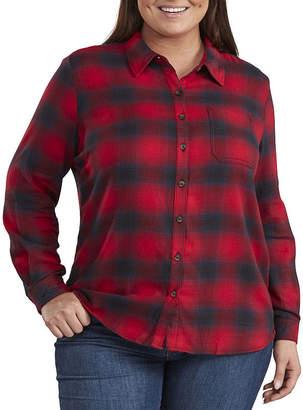 Dickies Long Sleeve Flannel Plaid Shirt - Plus