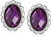 """1928 Jewelry """"Violet"""" Silver-Tone Amethyst Faceted Oval Button Earrings"""