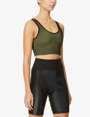 Good American Seamless Ribbed stretch-jersey sports bra
