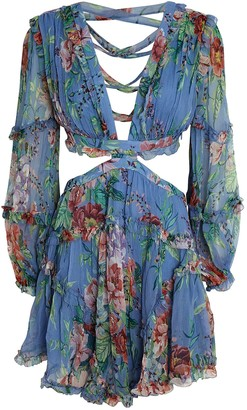 Zimmermann Bellitude Floral Cut-Out Mini Dress