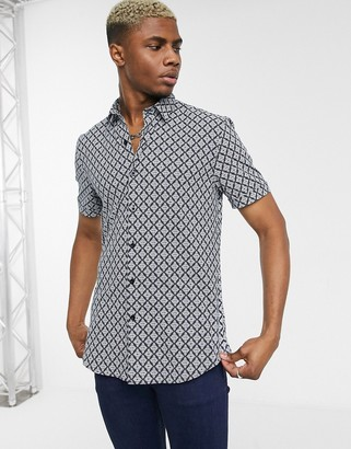 Topman formal shirt with leaf print in navy