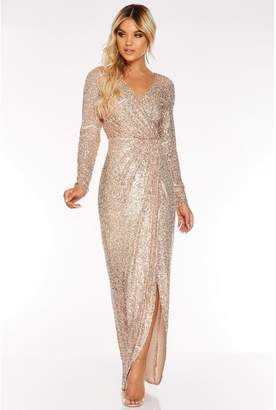 Quiz Rose Gold Sequin Long Sleeve Wrap Maxi Dress