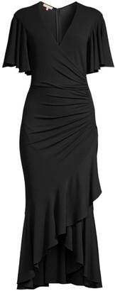 Michael Kors Ruffled Wrap Midi Dress