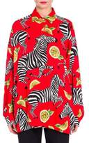 Dolce & Gabbana Charmeuse Zebra & Lemon Print Blouse