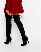 Truffle Collection Over The Knee Lace Up Back High Heeled Boots