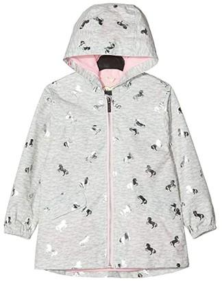 Hatley Playful Ponies Microfiber Rain Jacket (Toddler/Little Kids/Big Kids) (Grey) Girl's Clothing