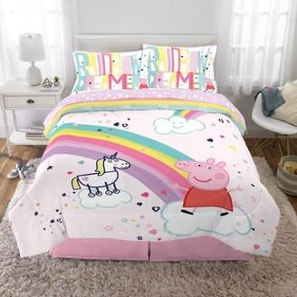 Peppa Pig Bed in a Bag Bundle Set, Kids Bedding, Super Soft Comforter and Sheet Set, 5 Piece FULL Size