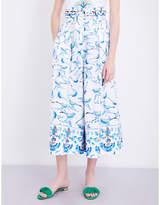 Peter Pilotto Bird-print wide-leg stretch-cotton trousers