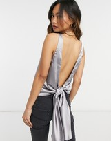Thumbnail for your product : ASOS DESIGN scoop neck satin cami with tie back detail in silver