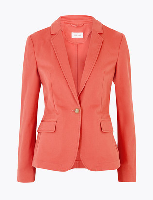 Marks and Spencer Cotton Single Breasted Blazer