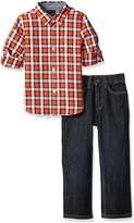 Tommy Hilfiger Little Boys' Roll Up Sleeve Plaid Shirt with Denim Pant Set