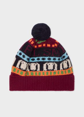 Paul Smith Women's Burgundy Wool 'Homer' Fairisle Bobble Hat