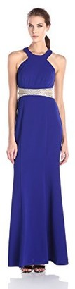 Decode 1.8 Women's Halter Long Dress with Illusion Beaded Waist