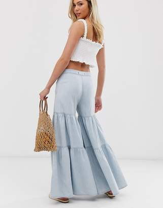 We The Free By Free People by Free People tiered wide leg jean-Blue