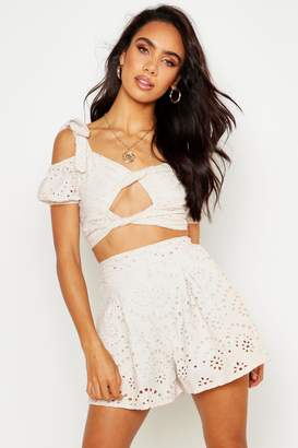 boohoo Broderie Tailored Shorts