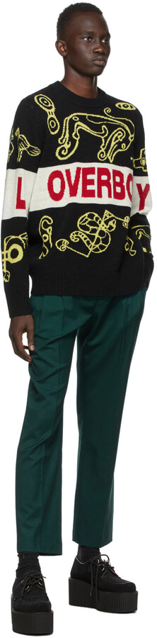 Thumbnail for your product : Charles Jeffrey Loverboy Black & Yellow Logo Squiggle Sweater
