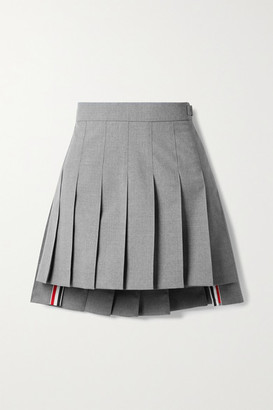 Thom Browne Grosgrain-trimmed Pleated Wool-blend Mini Skirt - Gray