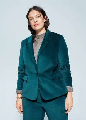 MANGO Violeta BY Velvet suit blazer emerald green - XXL - Plus sizes