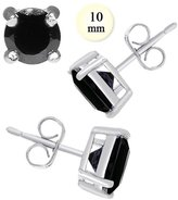Inspirelista Sterling Silver Stud Earring Aprx 7 Carat Total Weight, 10mm Each Round Black Simulated Diamond Earring. Set on High Quality Prong Setting with Rhodium Finish & Friction Style Post