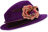 Philip Treacy Embroidered Flower Fedora w/ Velvet Band