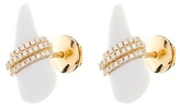 Elise Dray Diamond, white-agate & gold mini-horn earrings