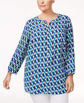 JM Collection Plus Size Pleated-Back Top, Created for Macy's
