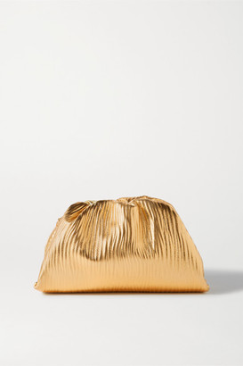 Bottega Veneta The Pouch Small Gathered Metallic Textured-leather Clutch - Gold