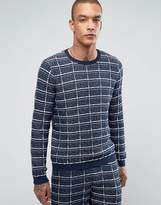 Asos Textured Check Sweater in Navy