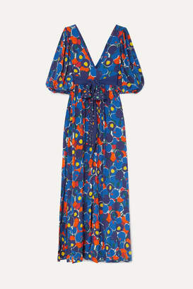 STAUD Affogato Printed Crepe De Chine Maxi Dress - Purple