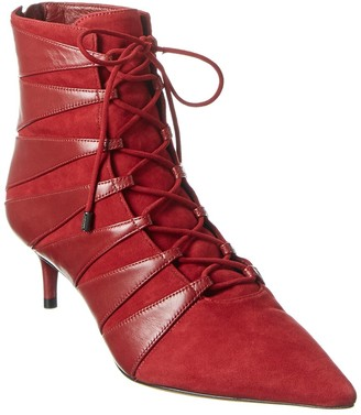 Alexandre Birman Becca Kitten Leather & Suede Bootie