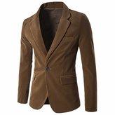 QIYUN.Z Men's Slim Fit One Button Casual Work Suit Jacket Coat Blazer