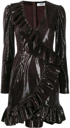 MSGM Sequin Embellished Ruffle Dress