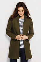 Lands' End Women's Tall Boiled Wool Parka-Dark Charcoal Heather