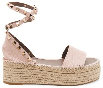 Valentino Rockstud Leather Double Espadrille Platform Sandals