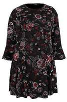 Yours Clothing Womens Floral Print Jersey Peplum Top With Flute Sleeves Plus Size 16 To 36