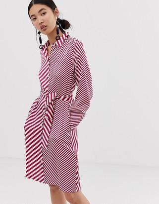 Emme mixed stripe belted shirt dress