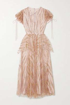 Rodarte Satin-trimmed Glittered Tulle Midi Dress - Blush