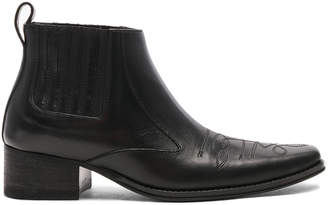Haider Ackermann Leather Low Boots in Ault Black | FWRD