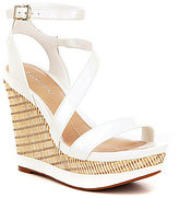 Gianni Bini Karri Patent Leather Banded Angle Strap Asymmetrical Wedge Sandals