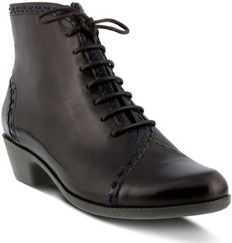 Spring Step Two-Tone Leather Lace Up Booties -Jaru