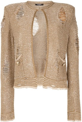 Balmain Ripped Sequin Embroidered Tweed Jacket