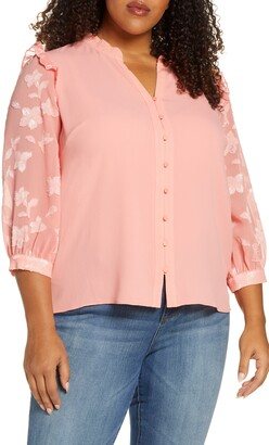 CeCe Three Quarter Floral Fil Coupe Sleeve Top